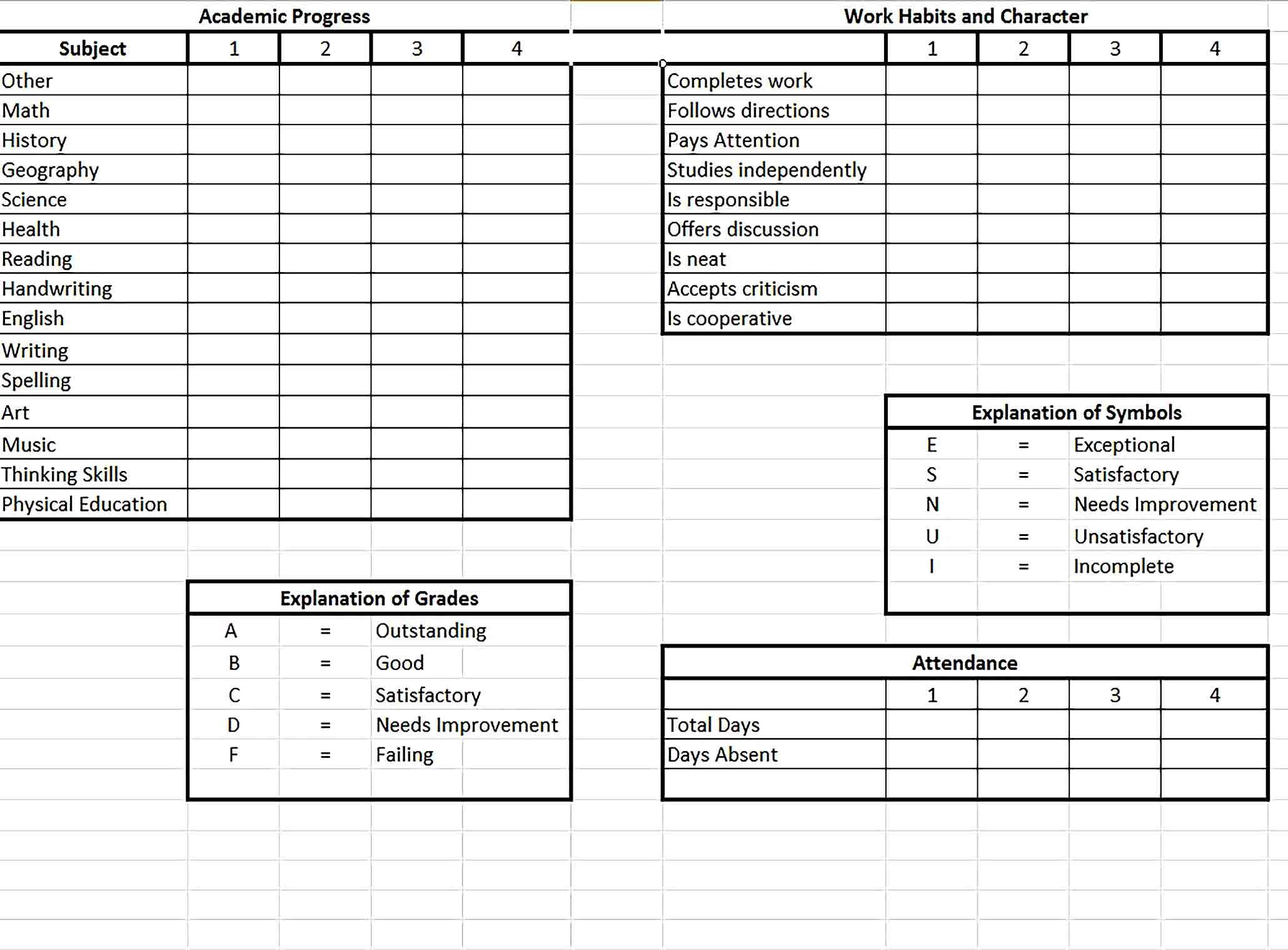 Report Card Templates Report Card Template Card Templates Templates