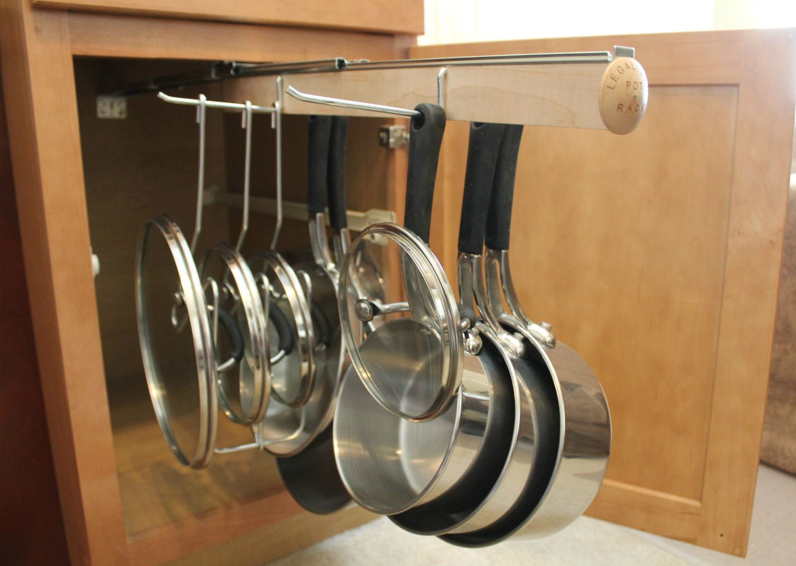 Pull Out Under Cabinet Hanging Pot and Pan Lid Rack Cookware ...