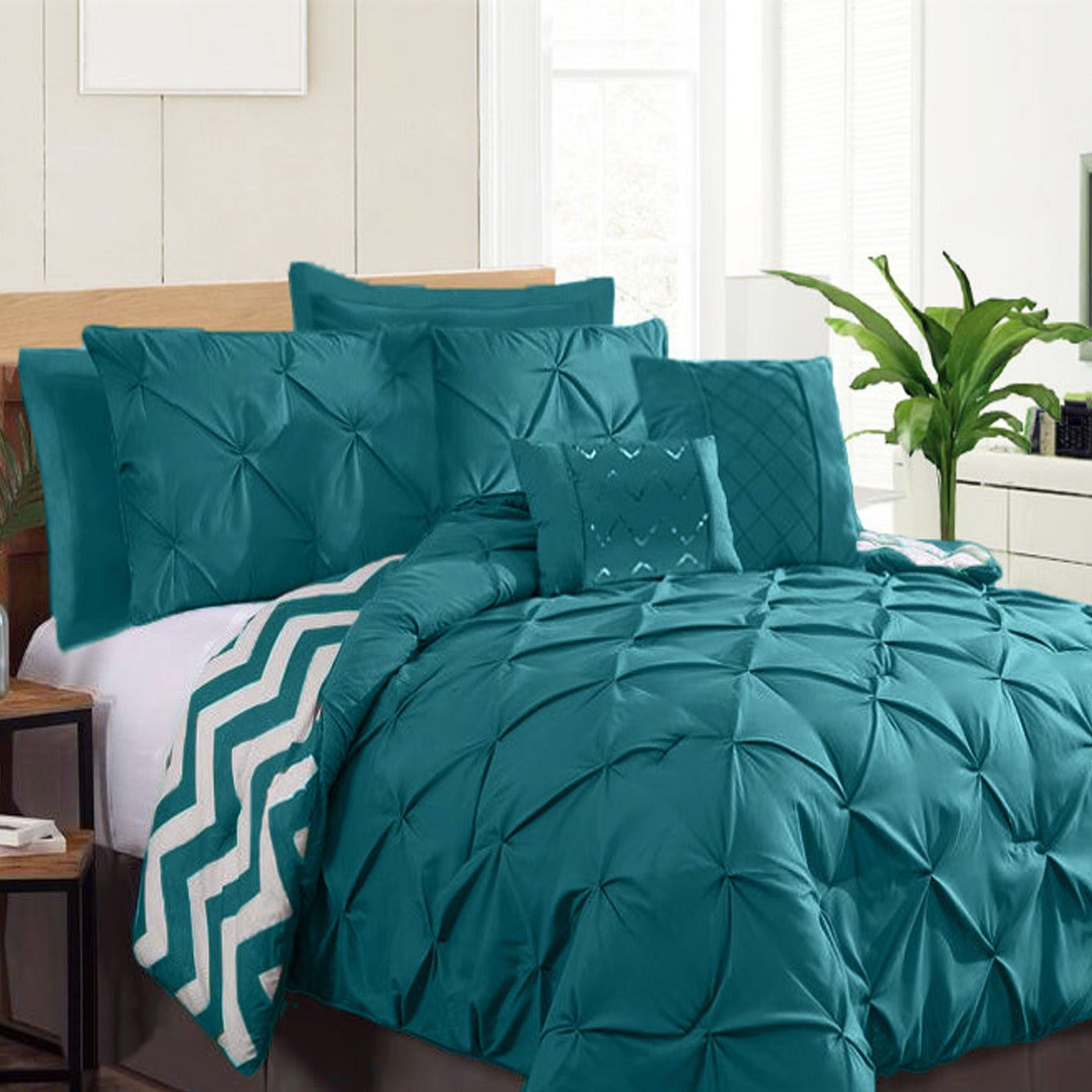 pleat in ip valentina piece pinch com walmart set chic bed home comforter bag a