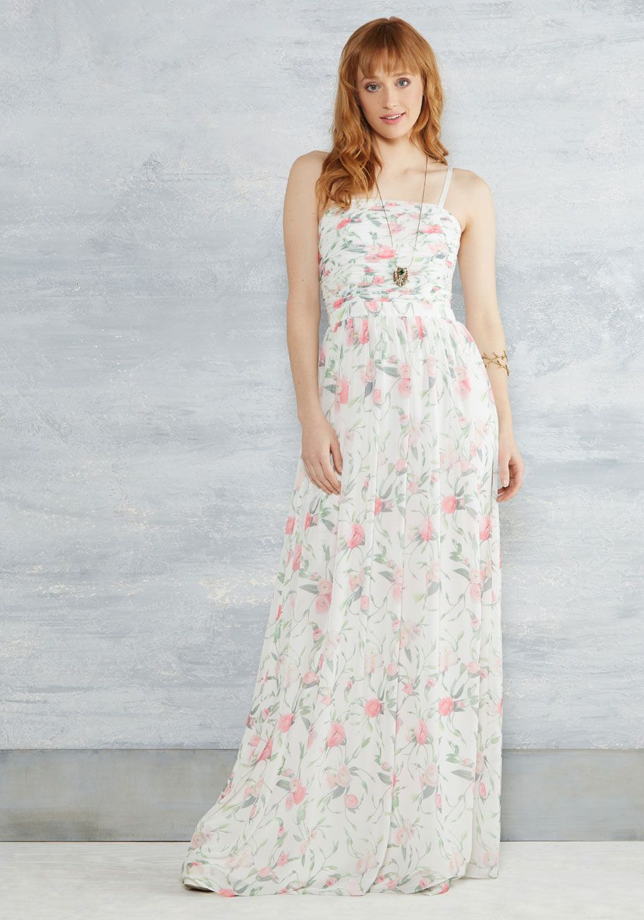 Floral maxi dress wedding  Graceful Grandeur Maxi Dress in Ivory  ModCloth White gowns and Gowns