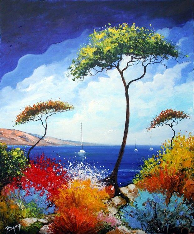 Peinture paysage de provence tableau peinture bord de for Peinture mosaique
