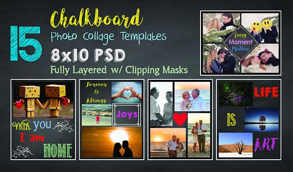 8x10 chalkboard photo collage template pack 15 psd. Black Bedroom Furniture Sets. Home Design Ideas