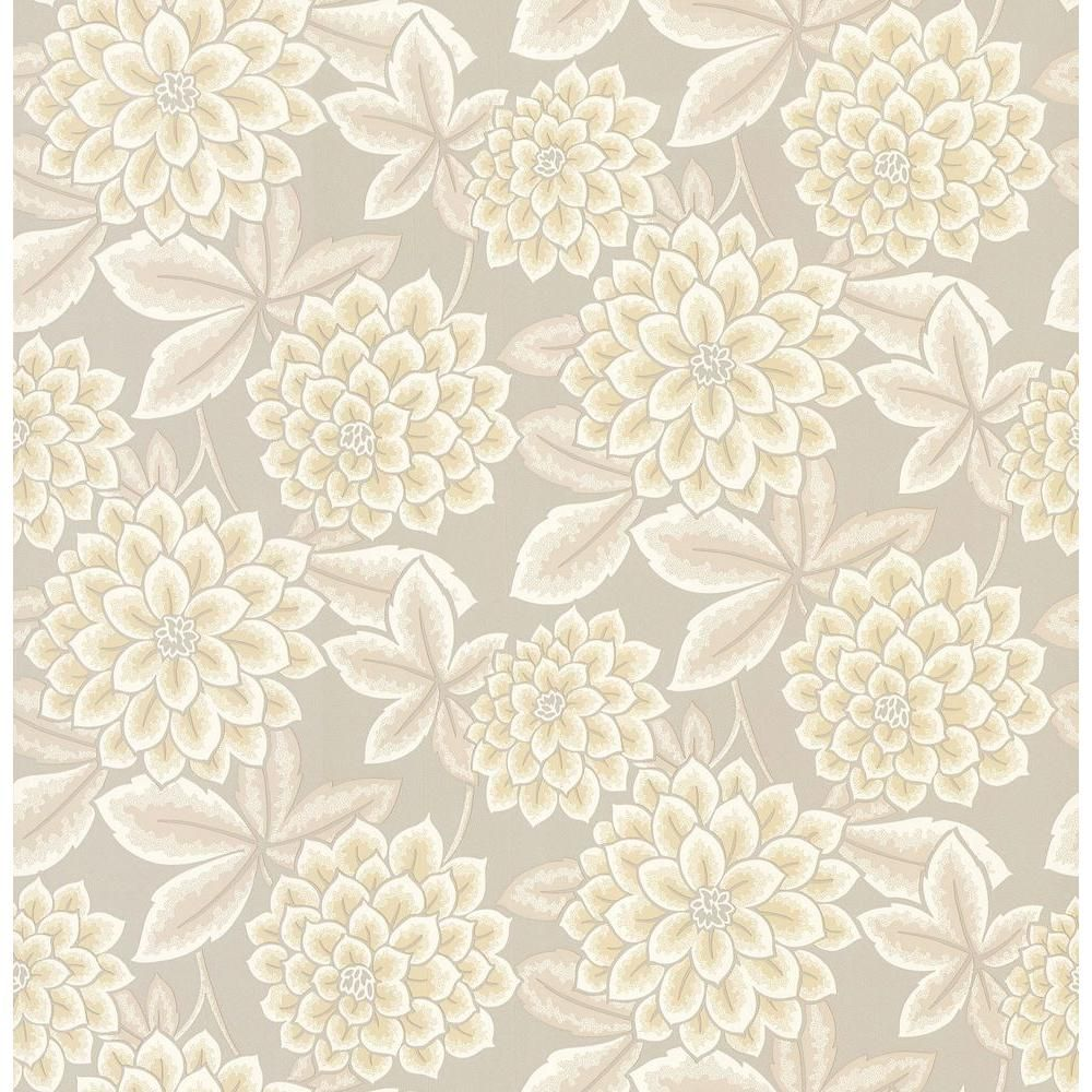 Brewster Madison Yellow Zinnia Floral Wallpaper Sample 282