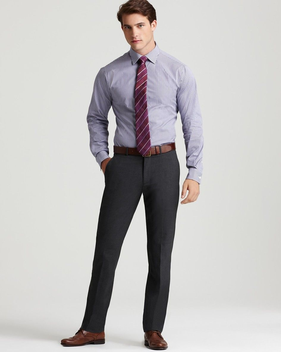Fashion trends formal black dress pants and shirt matched Light purple dress shirt men