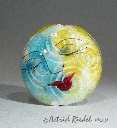 Moon Face Focal bead- lampwork by Astrid Riedel- 42 mm Lentil. $115.00, via Etsy.