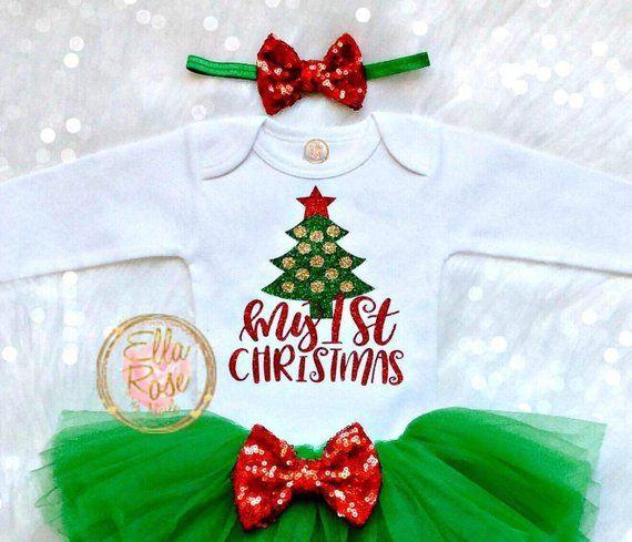 My 1st Christmas Outfit Girl First Christmas Baby Girl Bodysuit Christmas Tree Top Green Tutu In 2020 Girls Christmas Outfits Christmas Outfit Baby Girl Bodysuit