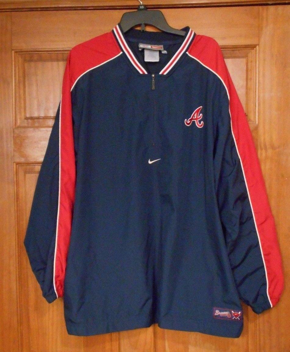 Nike Atlanta Braves Baseball Pullover Windbreaker Jacket Xl Pullover Windbreaker Windbreaker Jacket Athletic Jacket