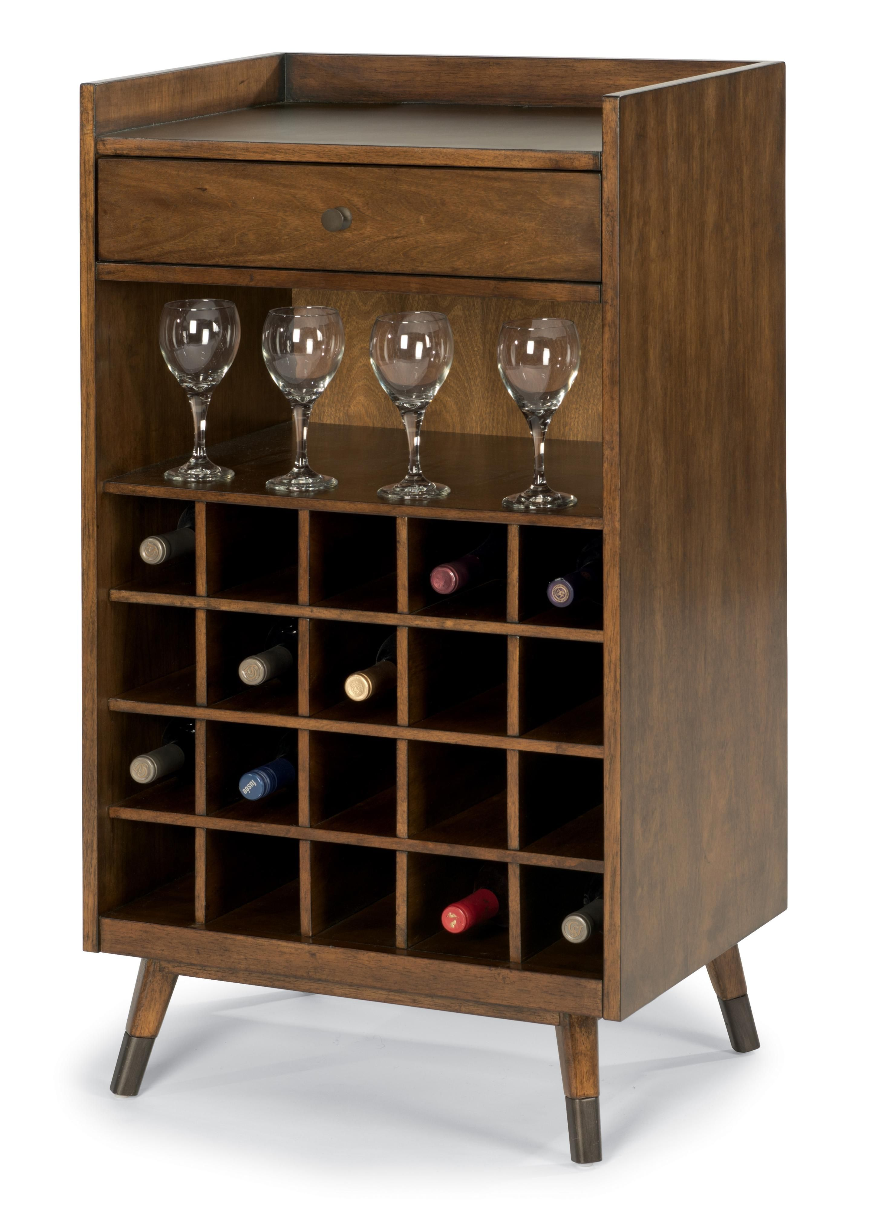 Gemini Mid Century Modern Wine Rack With Bar Accessory Drawer