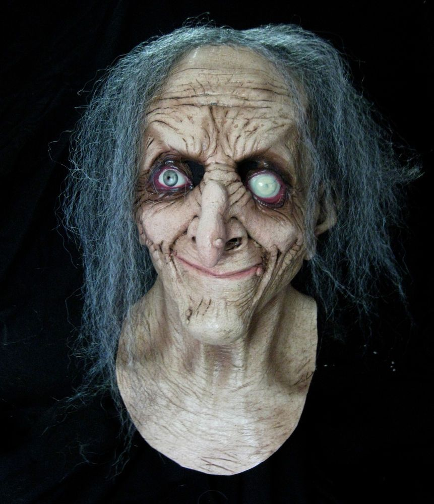 Gray Hag Evil Eye Old Woman Witch Latex Adult Halloween Costume ...
