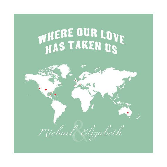 World Map, Where our Love Has Traveled, Gift for Husband ...