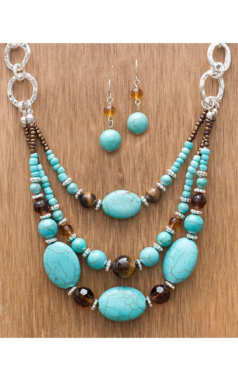 M Western Products 174 Semi Stone Turquoise Beaded Set