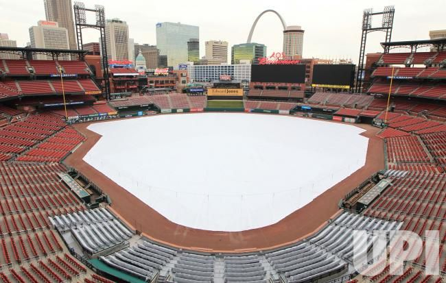 A plastic cover lays across the playing surface at Busch Stadium in St. Louis on December 15, 2016. Work has begun on Busch Stadium for the…