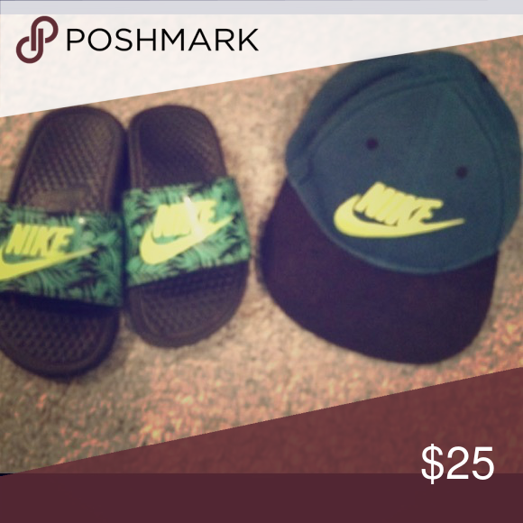 9b658486891a Kids slides and matching hat Nikes slides and hat neon yellow and green Nike  Shoes Sandals   Flip Flops