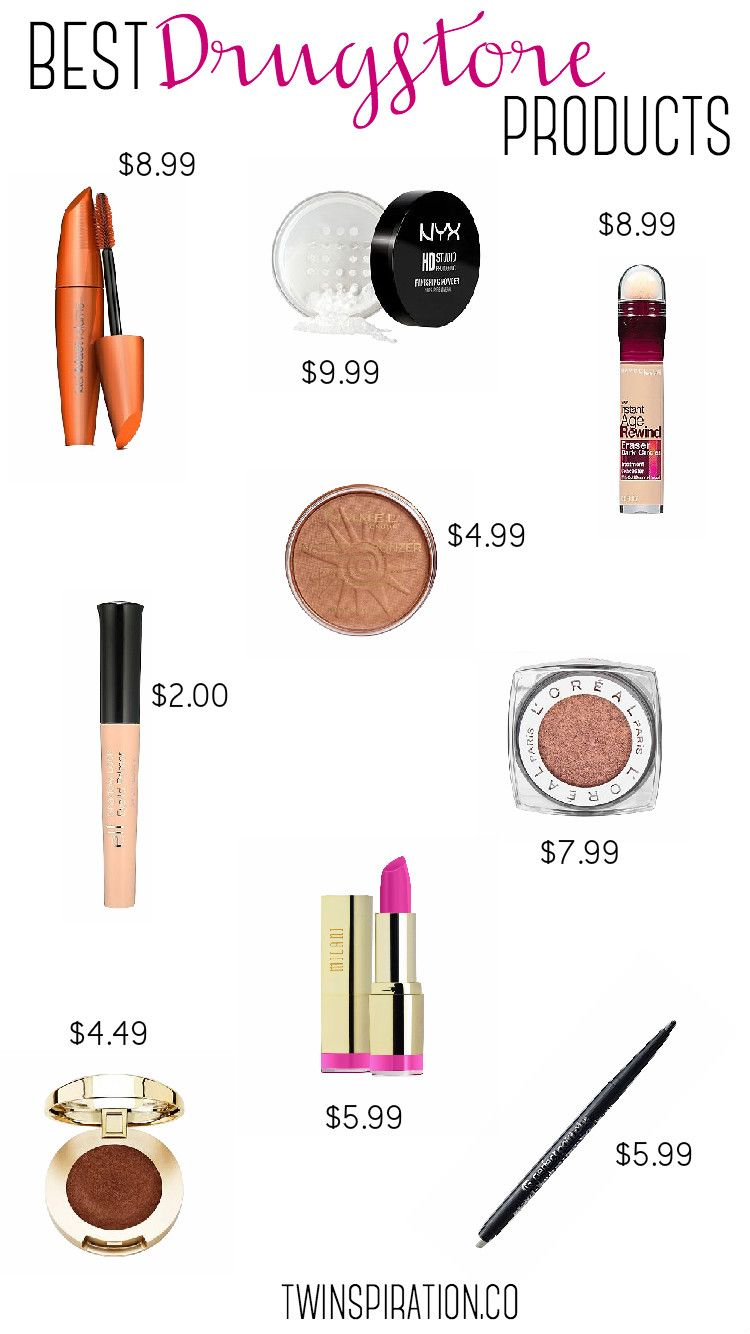Best Drugstore Makeup Products by Twinspiration at  http://twinspiration.co/best-drugstore-makeup/