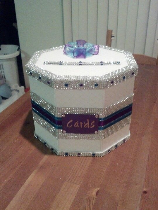 My Diy Purple Teal Diamond Wedding Card Box Using The Martha Plain White From It S Going To Look So Beautiful On Gift