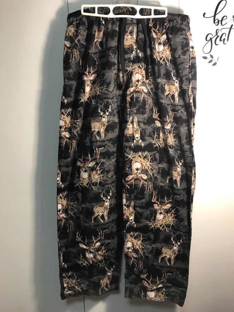 9cdc30d3 Men PJ Pants Deer Camo ⛺ Hunting Size L Sleepwear Flannel Pajama Pants  Camping #Varsity #LoungePants