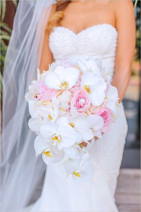 Perfect Pink And Gold Wedding Orchid Bouquet Wedding White
