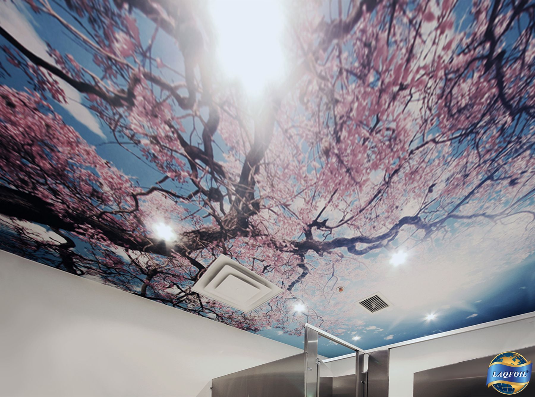 Cherry Blossoms, Sakura In Japanese, Adorn A Washroom Ceiling In The Home U0026  Design