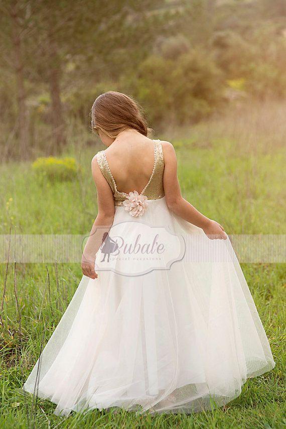 313f36af159 Gold Sequin Flower Girl Tulle dress