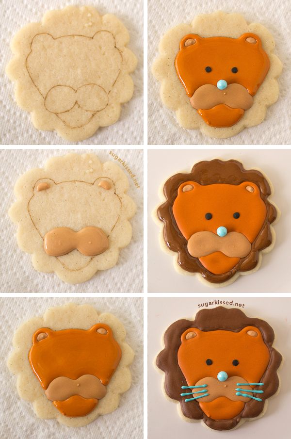 So Cute And So Easy How To Make Lion And Monkey Cookies