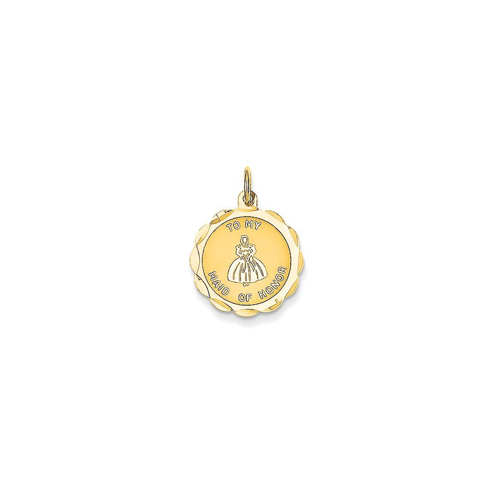 K yellow gold maid of honor charm x mm k yellow gold