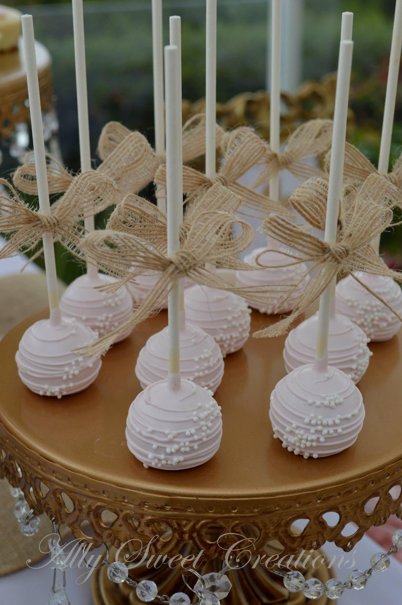 Burlap Bow Pink Cakepops Wedding Cake Rustic Wedding Cake Pops Bridal Shower Cupcakes