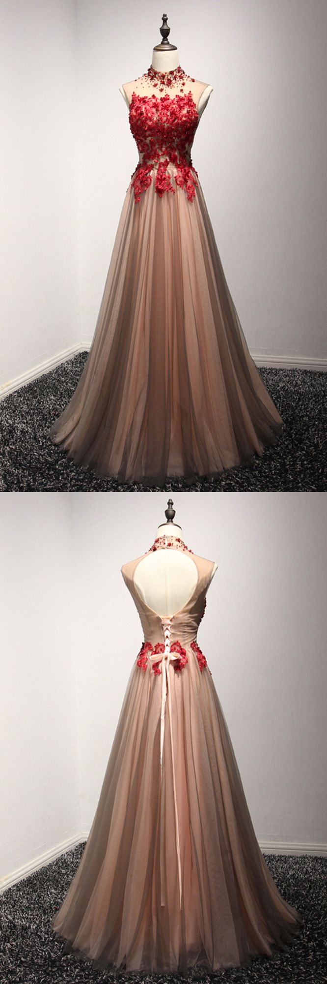 Modest black and red high neck prom dress long with floral beading