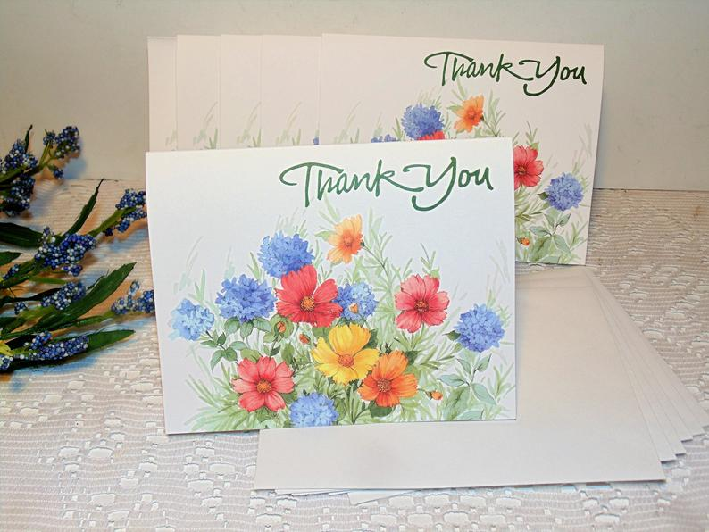vintage thank you cards set of six with envelopes blank