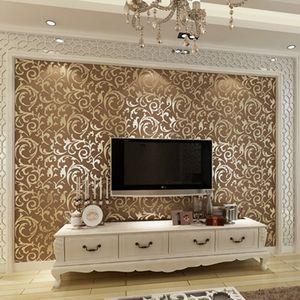 欧式莨苕叶金黄银色简欧pvc壁纸ktv卧室客厅沙发电视墙背景墙壁纸 Frntr