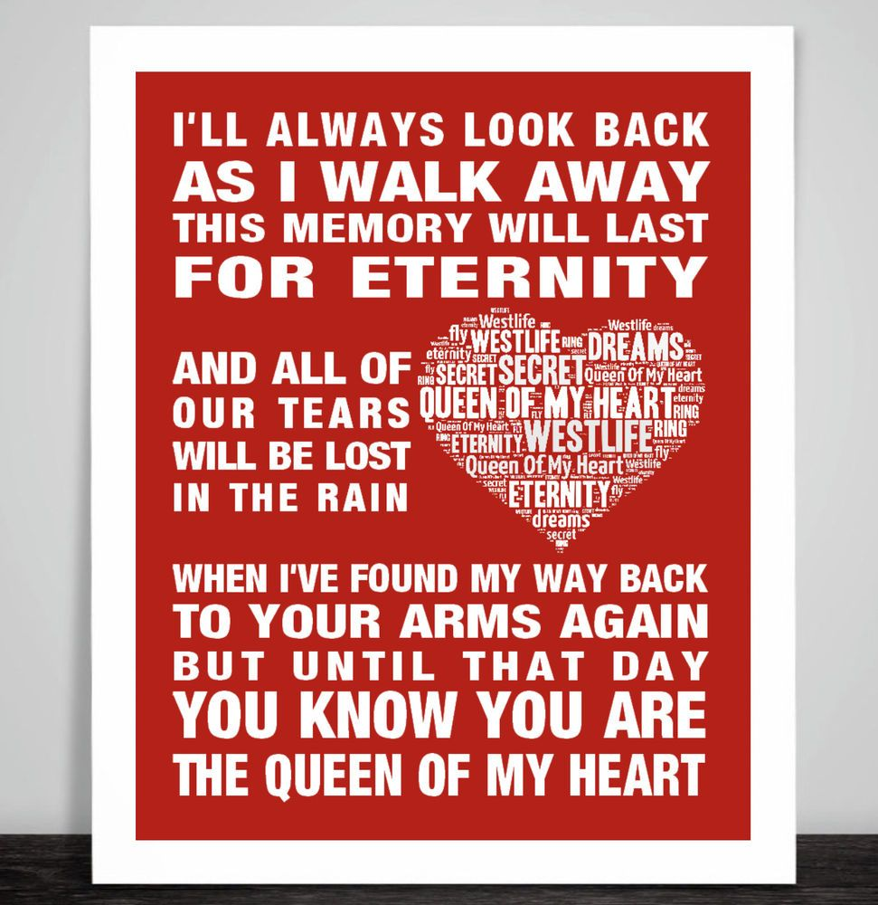 Westlife Queen of my heart Music Love Song Lyric Print Poster ...