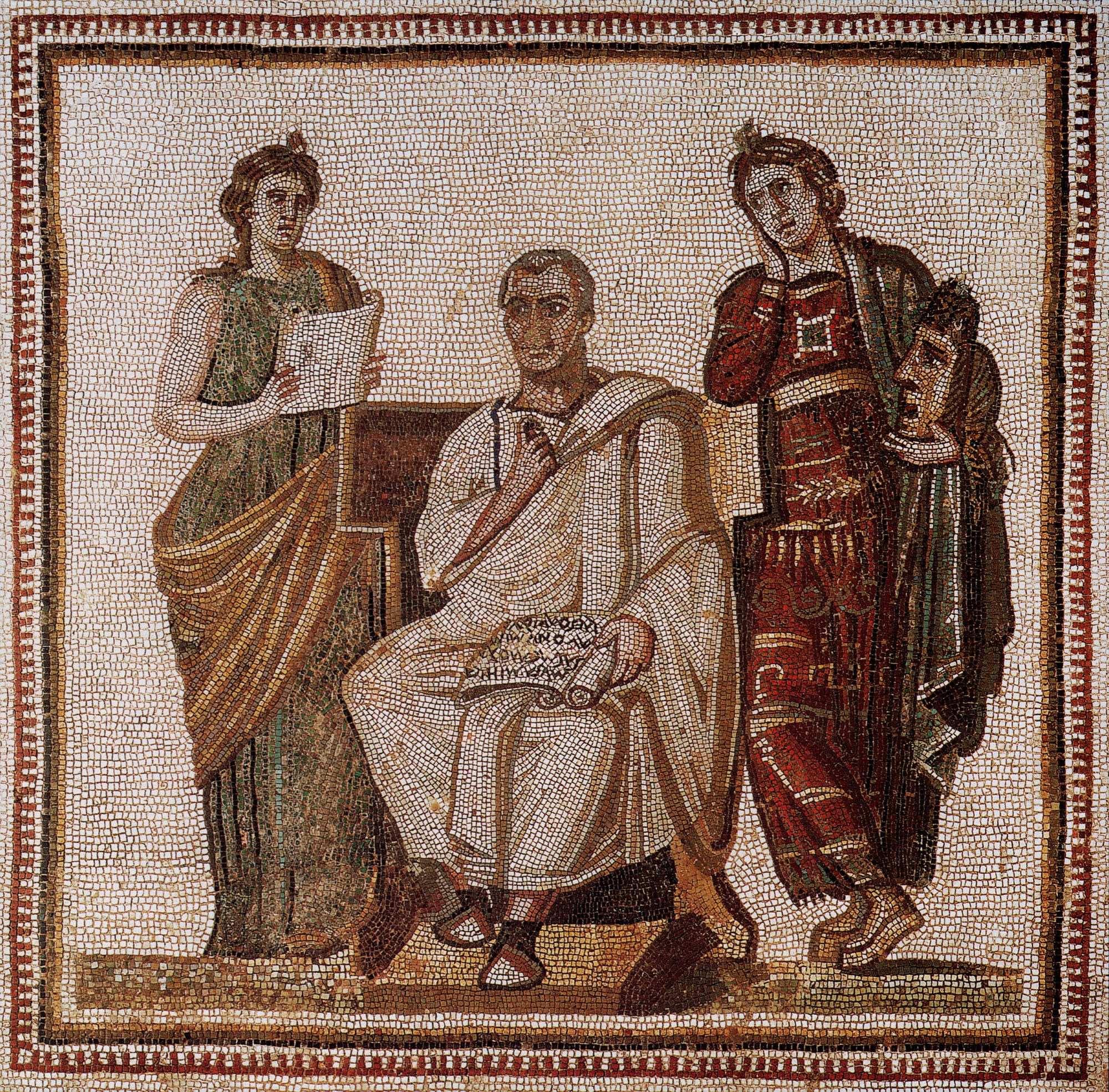 """Vergil holding the scroll with text of """"Aeneid"""" seated between the muses of history (Clio) and tragedy (Melpomene).  Mosaic. 3rd century. 123 × 122 cm. Tunis, The National Museum of Bardo. Origin:The """"maison de l'Arsenal"""" or """"maison de Virgile"""" in Sousse, Tunisia (ancient Hadrumetum in the province Byzacena). Discovered in 1896 by French soldiers excavating for an arsenal. The scroll in Virgil's hand reads, """"Musa, mihi causas memora,"""" from the first lines of the Aeneid."""