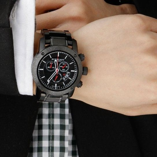 burberry large chronograph bracelet watch