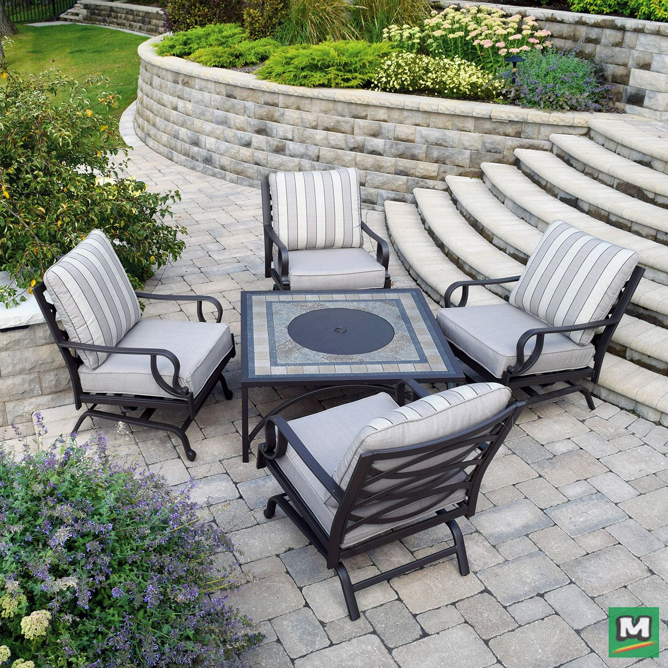 This Backyard Creations 174 5 Piece Stone Manor Fire Pit