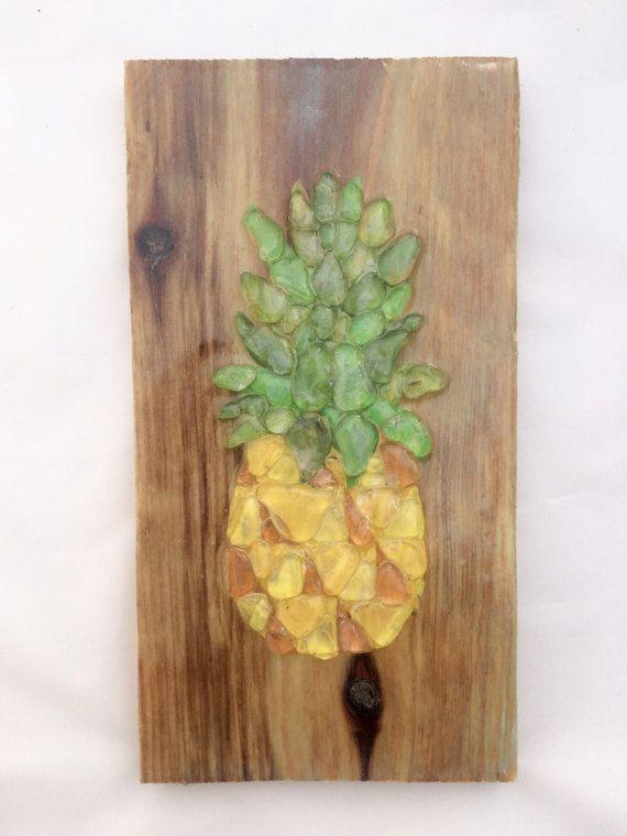 Sea Glass Pineapple sea glass mosaic clear sea glass wall art ...