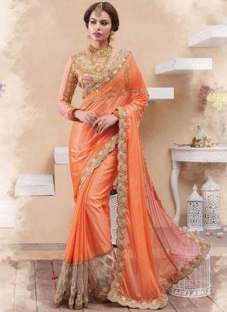 98939f20c6 Light Orange Cut Work Diamond Work Net Silk Wedding Half Sarees http://www