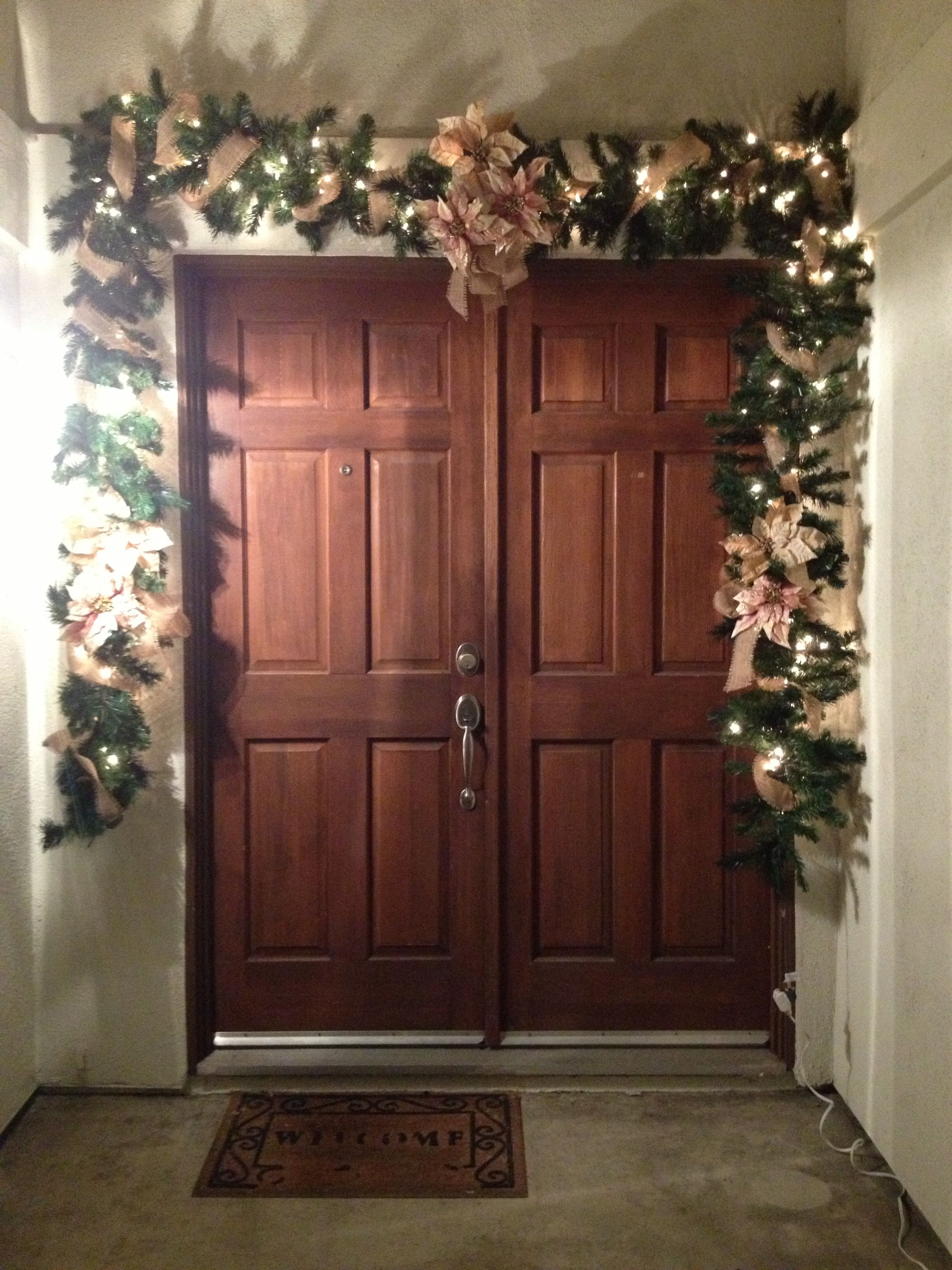 Our Front Door Christmas Garland With Burlap Accent