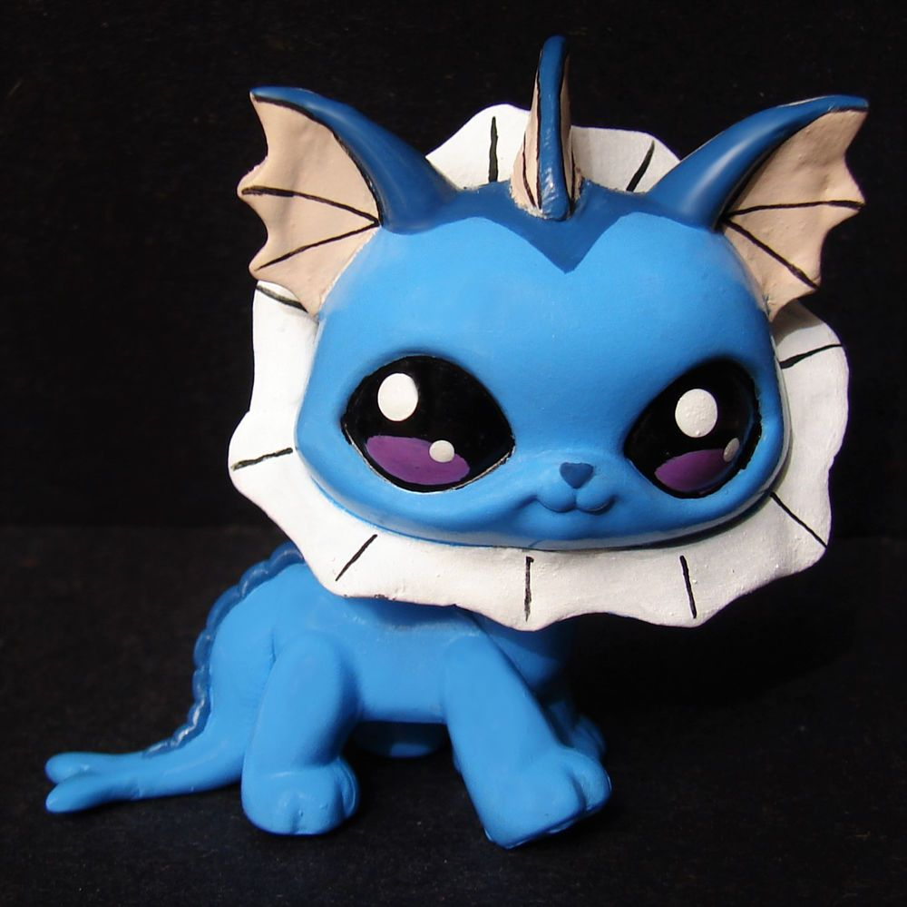 Littlest pet shop pokemon vaporeon ooak custom figure hand for Fish and more pet store
