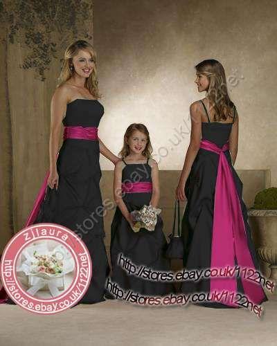 Black long wedding dress with colored sash