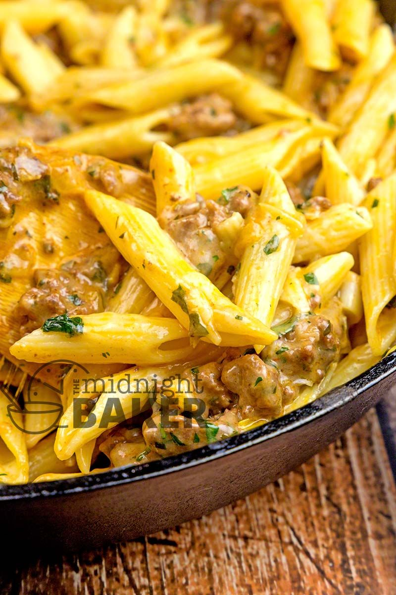 Great For Using Any Leftover Pasta Simple And Inexpensive Cheesy Ground Beef Skillet Dinne Beef Pasta Recipes Ground Beef Recipes For Dinner Ground Beef Pasta