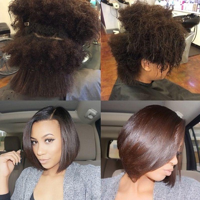Silk Pressed Bob Natural Hair Blowout Short Natural Hair Styles Blowout Hair