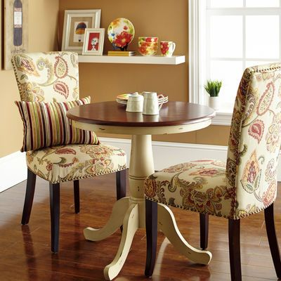Keeran Bistro Table   Antique Ivory, 30X30 Shown With Upholstered Chairs.  He Doesnu0027