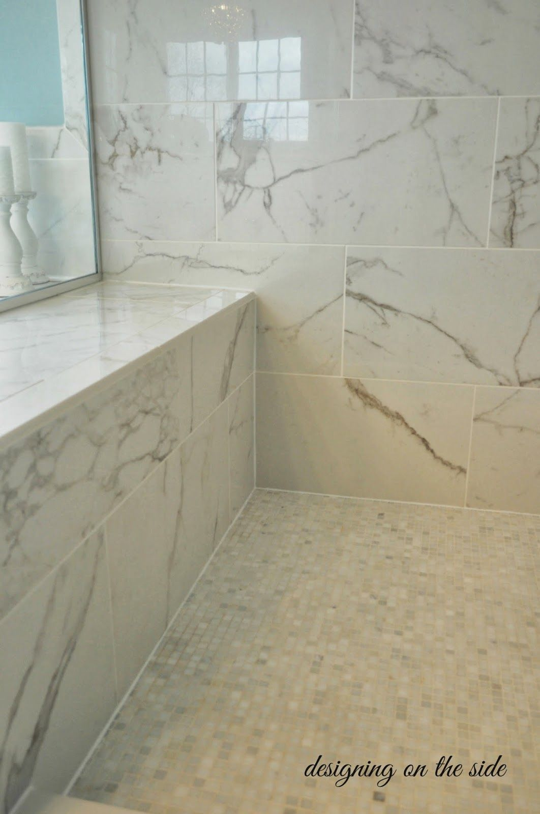 The Shower Tiles Are 12x24 Calcutta Marble And The Floor