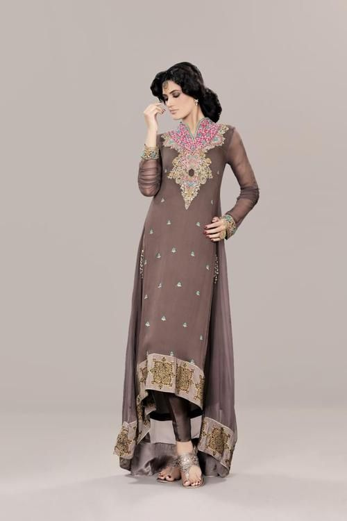 Pakistani Clothes Brown Pink And Blue Party Wear Dresses Fashion Designer Party Dresses