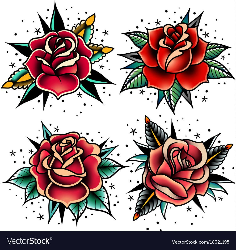 Set Of Four Oldschool Tattoo Roses On A White Background Download