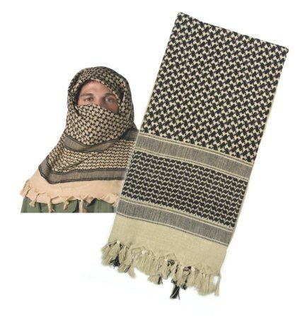Black Friday 4537 LIGHTWEIGHT SHEMAGH TACTICAL DESERT SCARVES (TAN/BLACK) from Rothco Cyber Monday