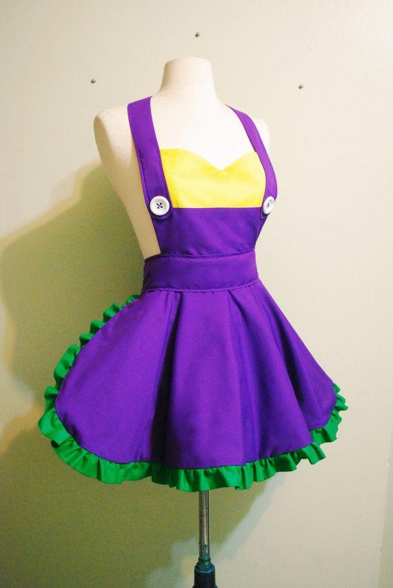 wario apron レトロなエプロン ドレスの縫製 エプロンドレス