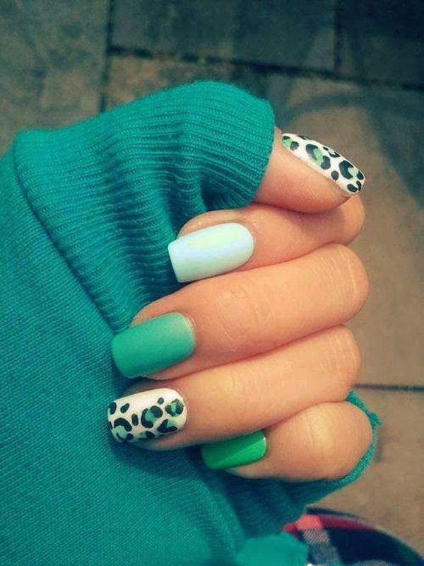 A very cozy and homey fall nail art design featuring aquamarine and ...