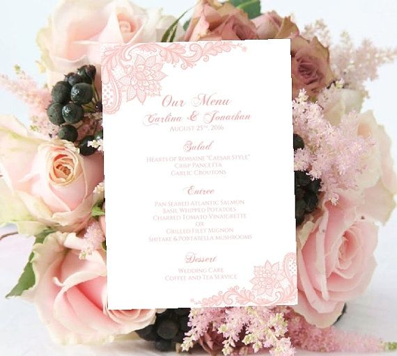 Wedding MENU Template Printable Blush Vintage Lace INSTANT - Menu Word Template