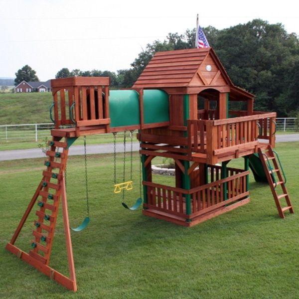 Cedar-Wood-Giant Playground Swing Set Slide Huge Play