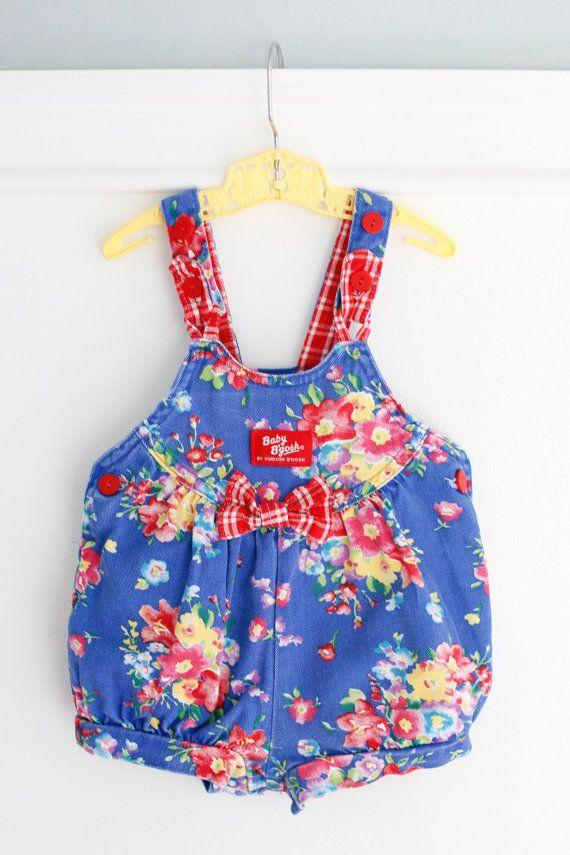f93c21bad994 18 Months  Blue Floral Baby Girl Denim Romper